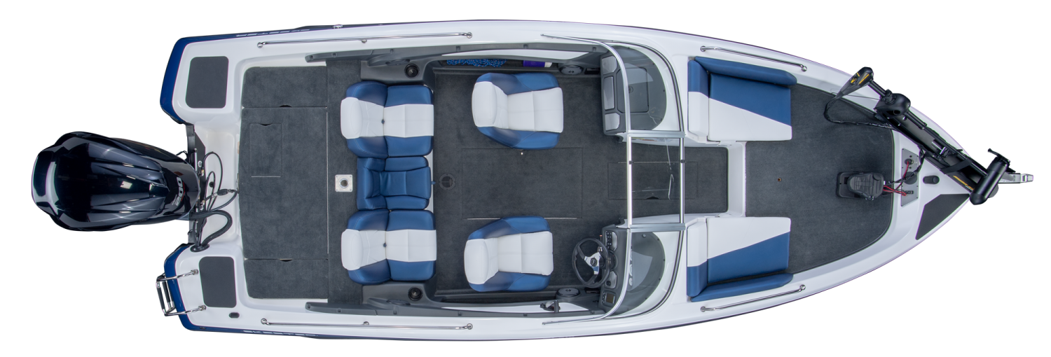 2019 Skeeter SL210 Fish & Ski Boat For Sale overhead image with storage compartments closed.