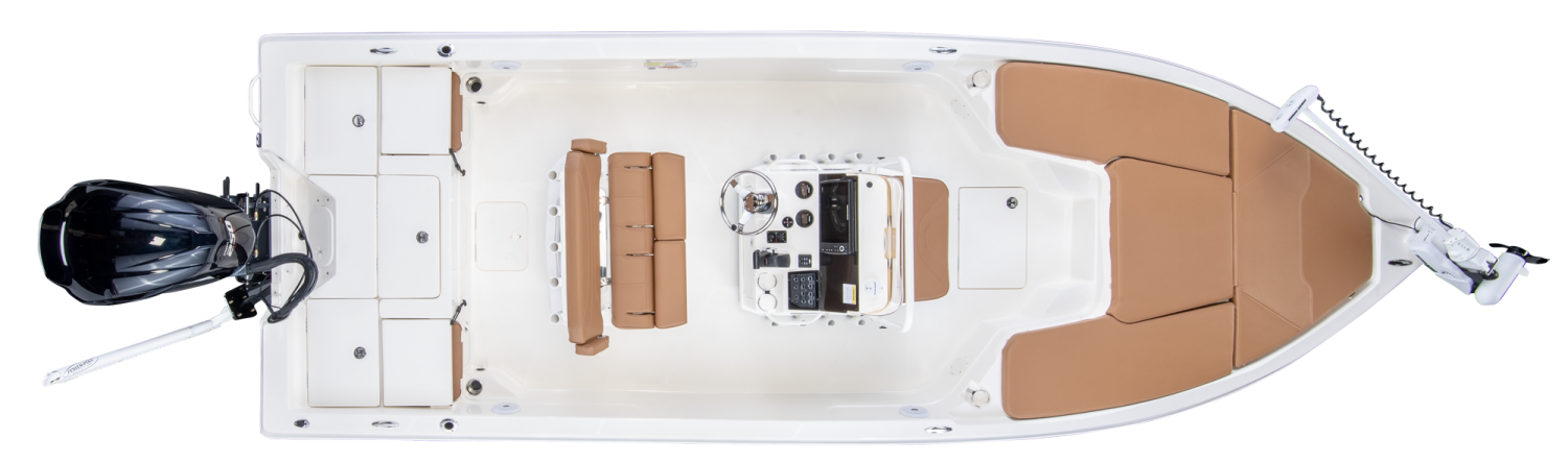 2019 Skeeter SX230 Bay Boat For Sale overhead image with storage compartments closed.