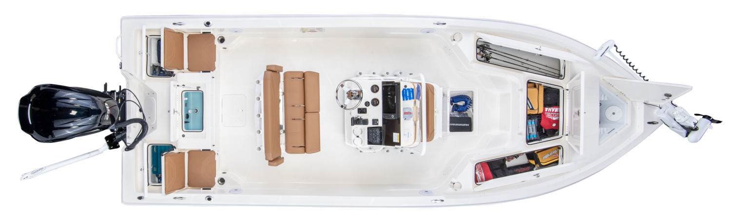 2019 Skeeter SX230 Bay Boat For Sale overhead image with storage compartments open.