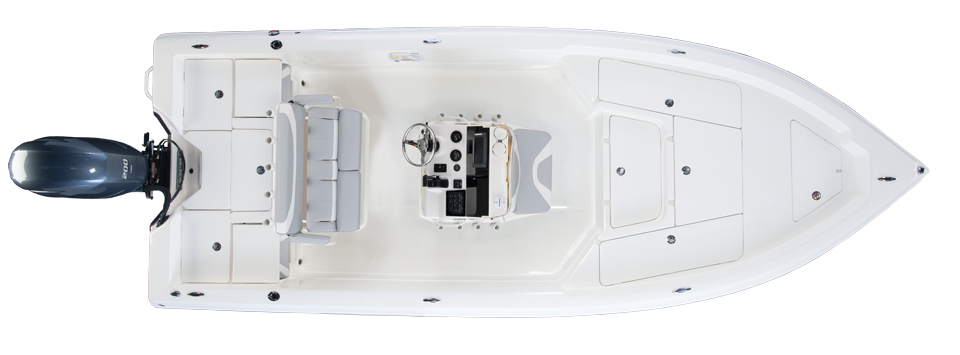 2019 Skeeter SX2250 Bay Boat For Sale overhead image with storage compartments closed.