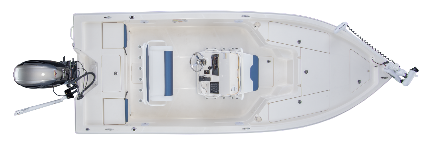 2019 Skeeter SX210 Bay Boat For Sale overhead image with storage compartments closed.
