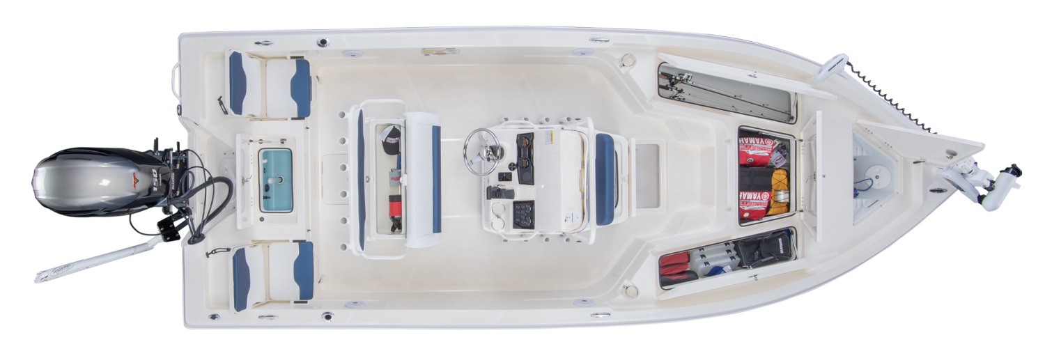 2019 Skeeter SX210 Bay Boat For Sale overhead image with storage compartments open.