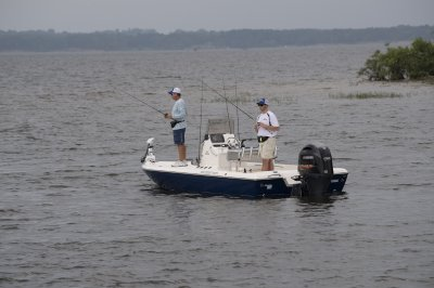 two men fishing from skeeter SX200 bay boat