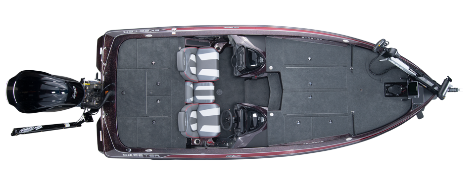 2020 Skeeter ZX250 Bass Boat For Sale overhead image with storage compartments closed.