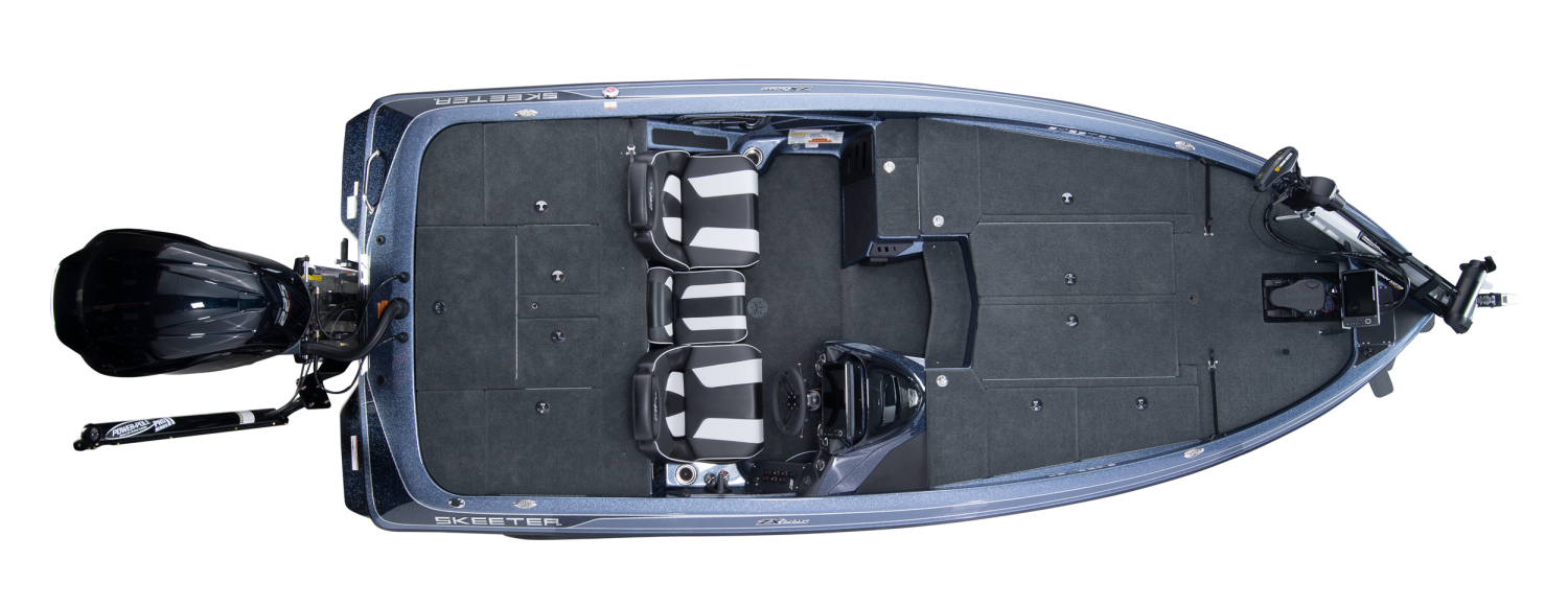 2020 Skeeter ZX225 Bass Boat For Sale overhead image with storage compartments closed.